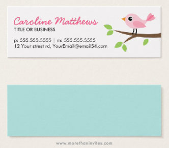 Pink bird on branch, cute personal profile mini business cards