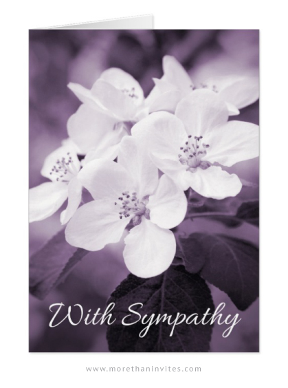 Purple sympathy cards with apple blossom