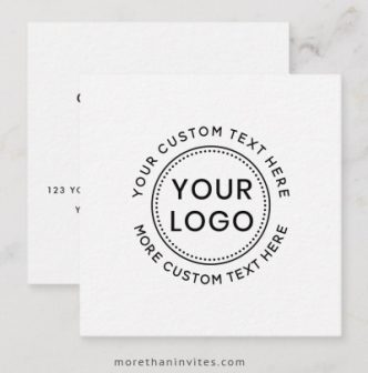Custom logo business card template with circular text around the logo
