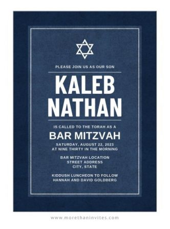 Dark blue bar mitzvah invitations with boy's name in bold, white letters