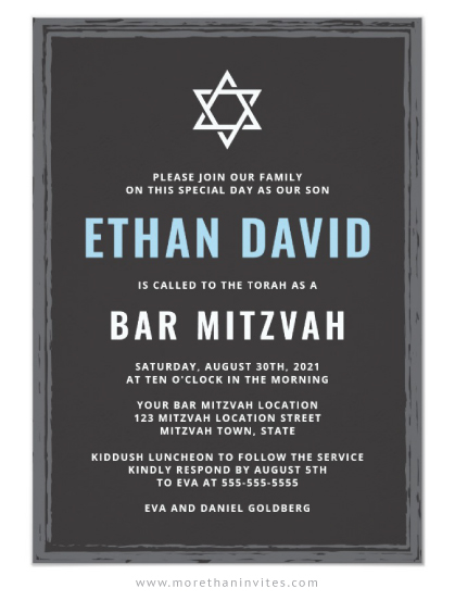 Dark gray bar mitzvah invitations with rough border