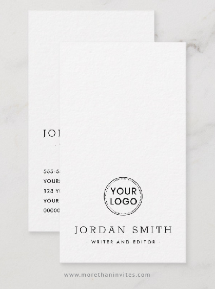 Modern, vertical custom logo business card template