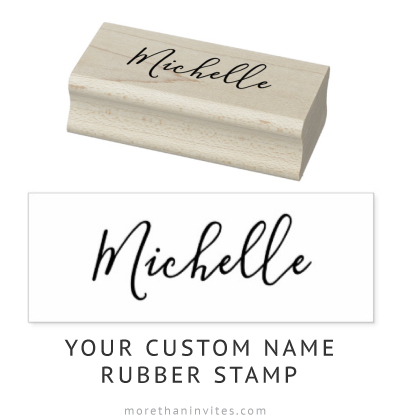 Customizable name elegant script rubber stamps